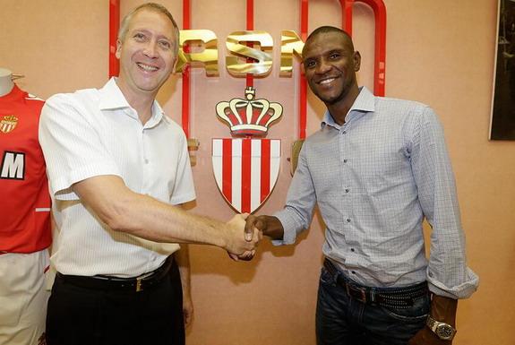 New Monaco signing Éric Abidal poses with sporting director Vadim Vasilyev