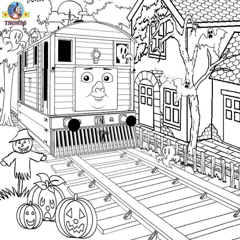 Fall tricks free printable kids activities Thomas tram Toby colouring  title=