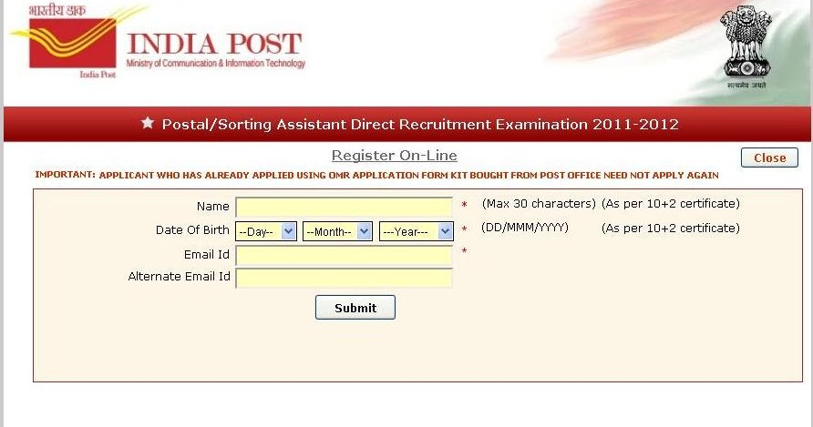 System administrators indiapost postal assistant 2012 getting application online - Sa post office tracking number ...
