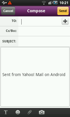 Composing Android Yahoo Mail