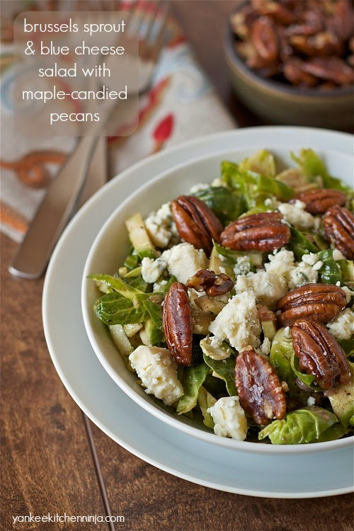 Crisp Brussels sprout salad with tangy blue cheese and maple candied pecans