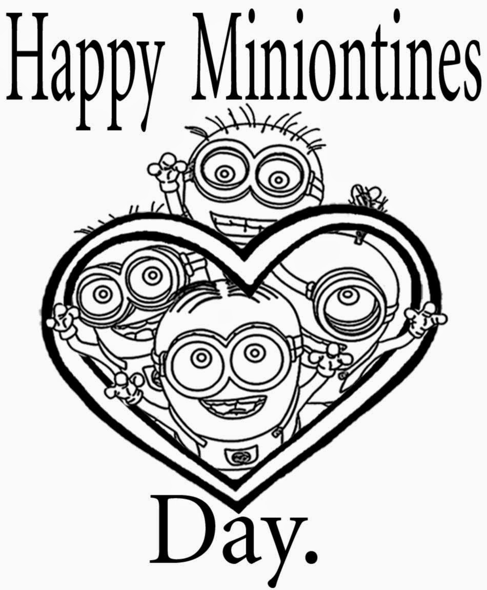 Cool Clipart Valentines Day Colouring Free Happy Minion Love Heart Printables For Young Adulthoods
