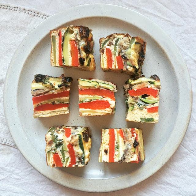 cubes omelette sardines légumes