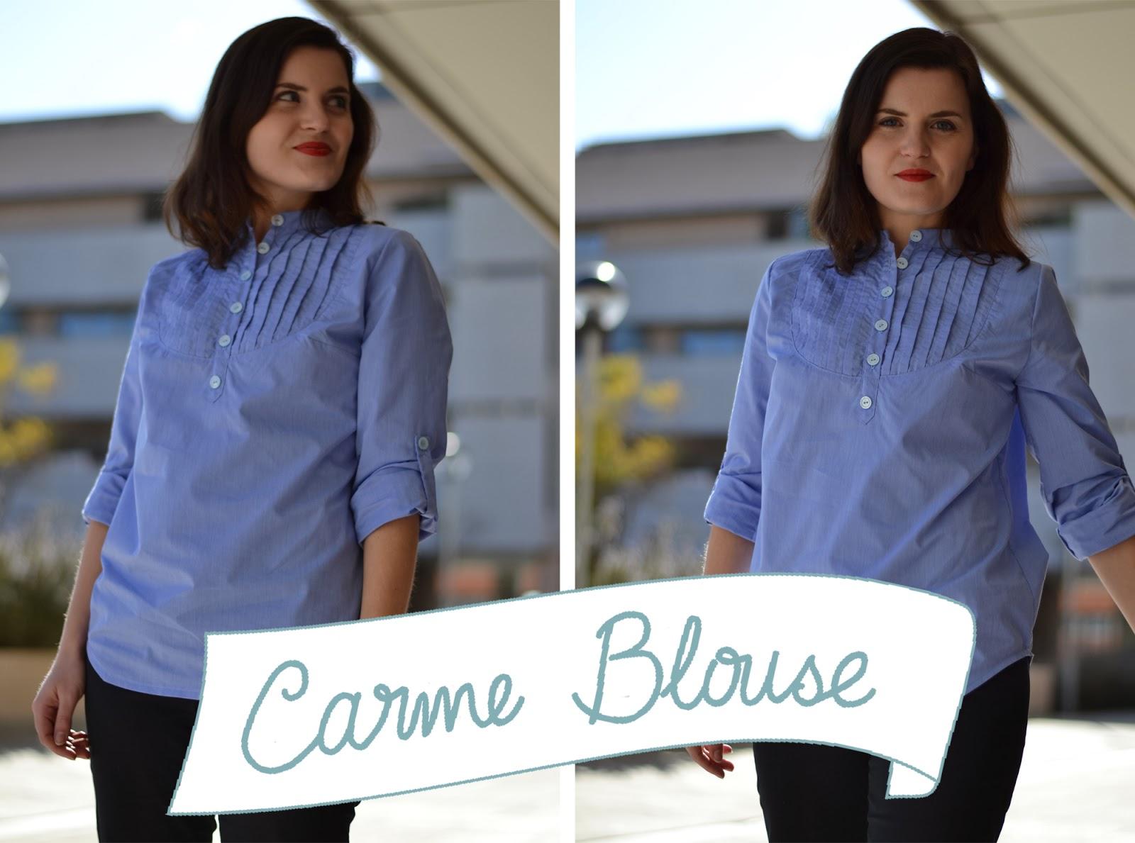 blusa Carme, patron blusa, canesu, lorzas, trabilla manga, solapa abotonada
