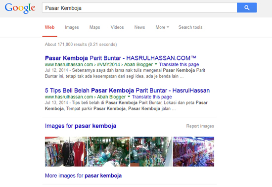 Pasar Kemboja Rank #1 Google