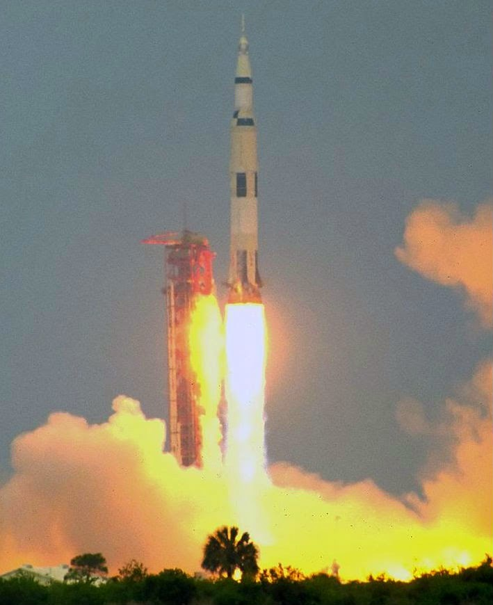 Launch of Apollo XI from the Kennedy Space Center on July 16, 1969 at 9:32 AM EDT