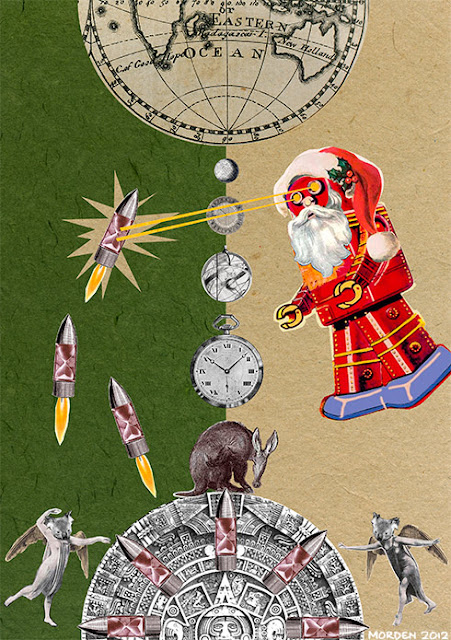 collage - Robot space santa battles the time bombs of destiny