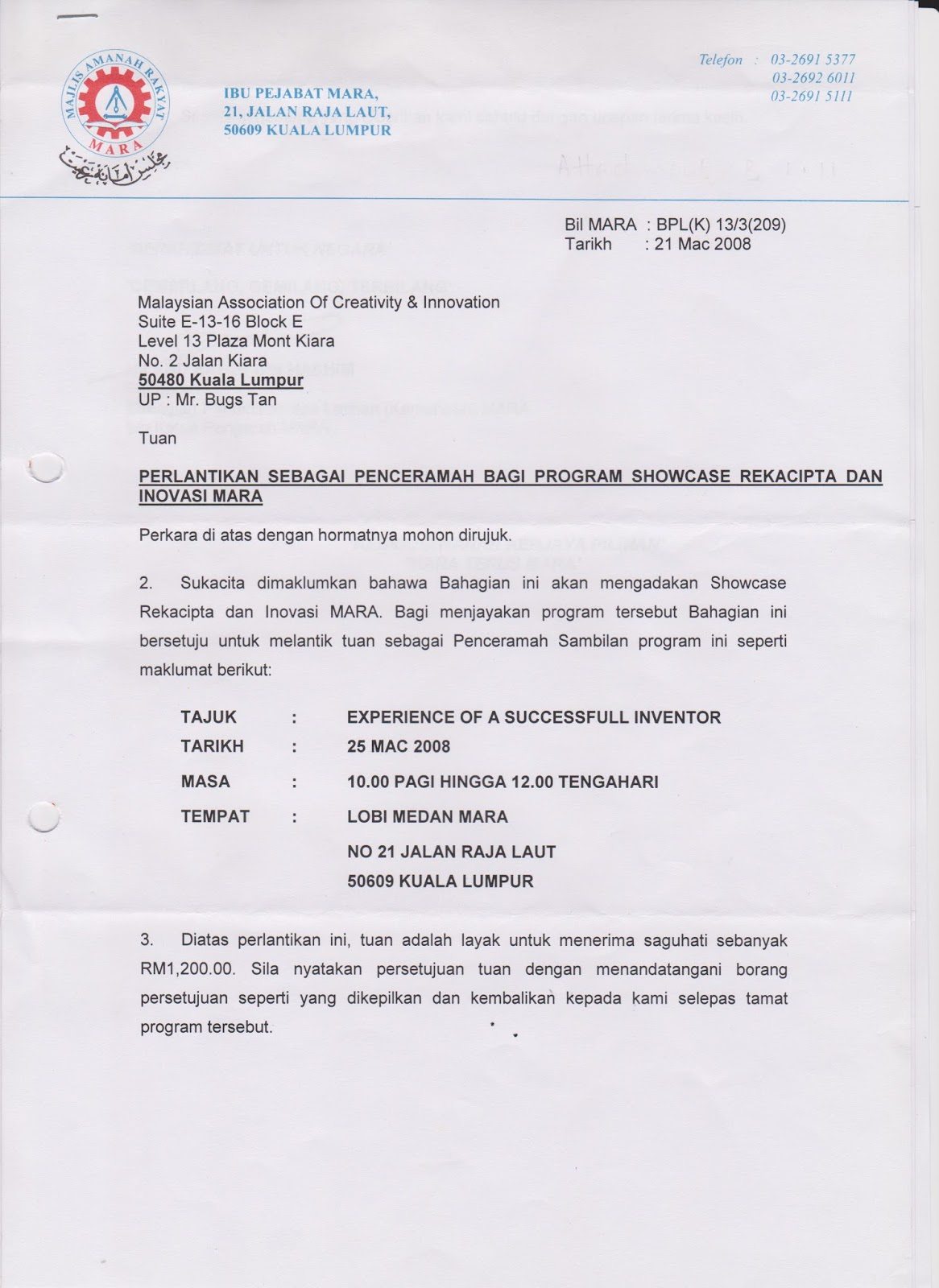bugs tan accolades testimony and appointments 2006 to 2010 2008 letter of appointment as adjunct lecturer at the university technology petronas in tronoh perak