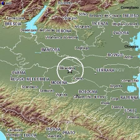 mappa terremoto 20 maggio modena ferrara