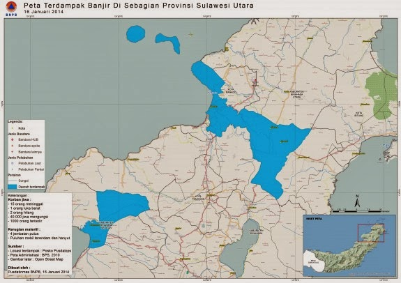 peta dampak banjir manado Geospasial BNPB