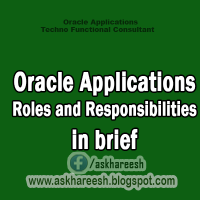 Oracle Applications Roles and Responsibilities in brief