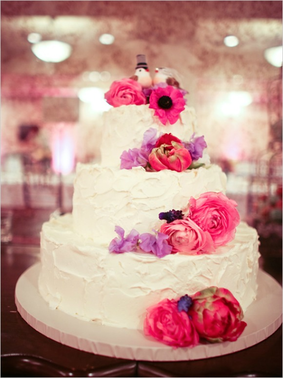 white wedding cake with pink roses by Montecito Confections