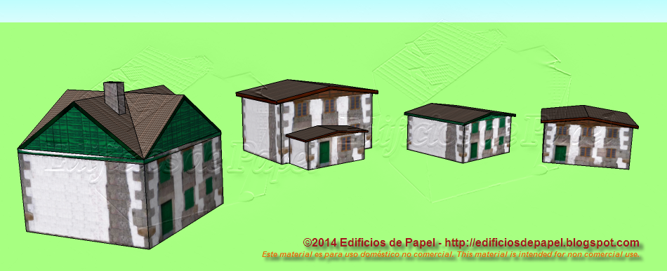 Four different county house paper model