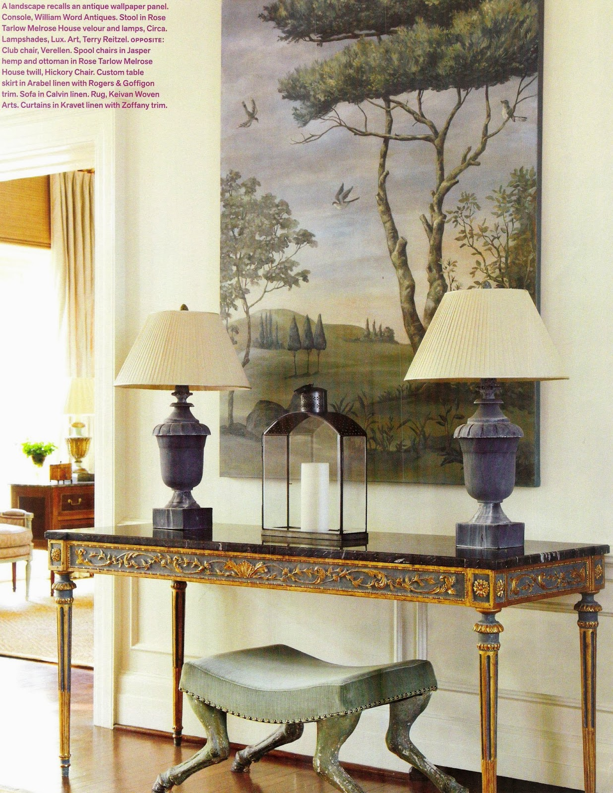 Year of the horse a flippen life a landscape recalls an antique wallpaper panel console william word antiques stool in rose tarlow melrose house velour and lamps circa geotapseo Images