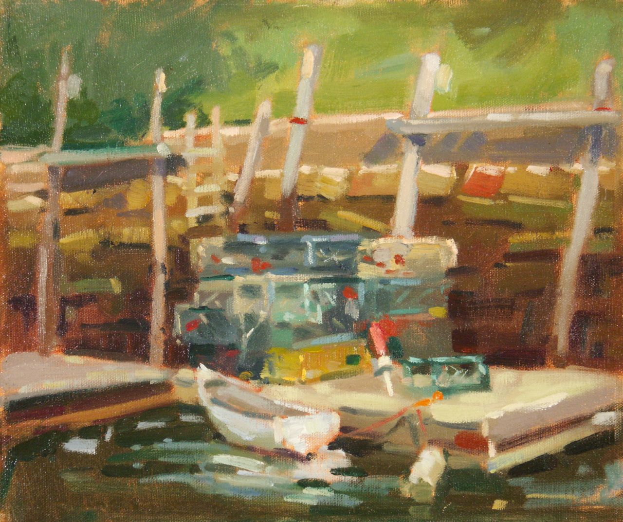 Darrell Anderson's Paintings, Marker Drawings and Prints: Lobster Traps, 10x12