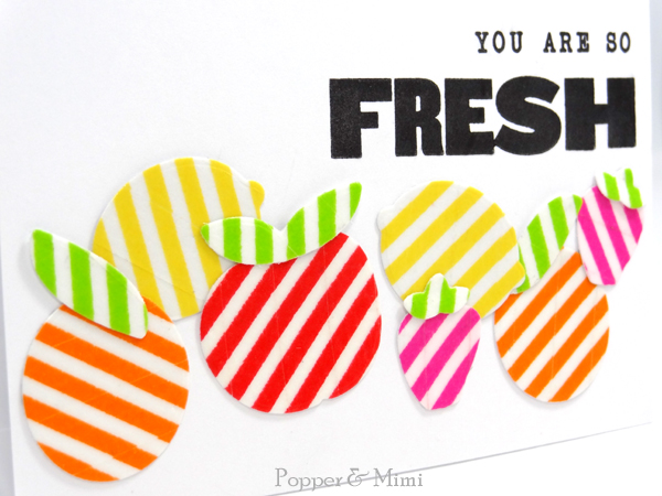 Die cut striped washi tape fruit on a card | popperandmimi.com