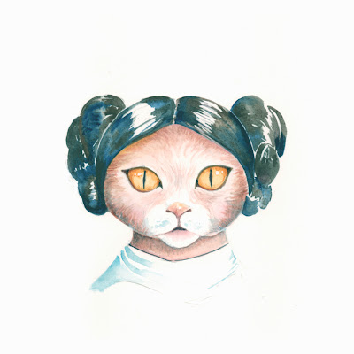 princess leia star wars cat painting