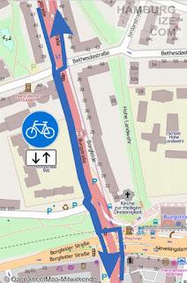 Burgstraße - heutige Radverkehrsführung