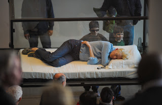 Actress Tilda Swinton Sleeps in Glass Box