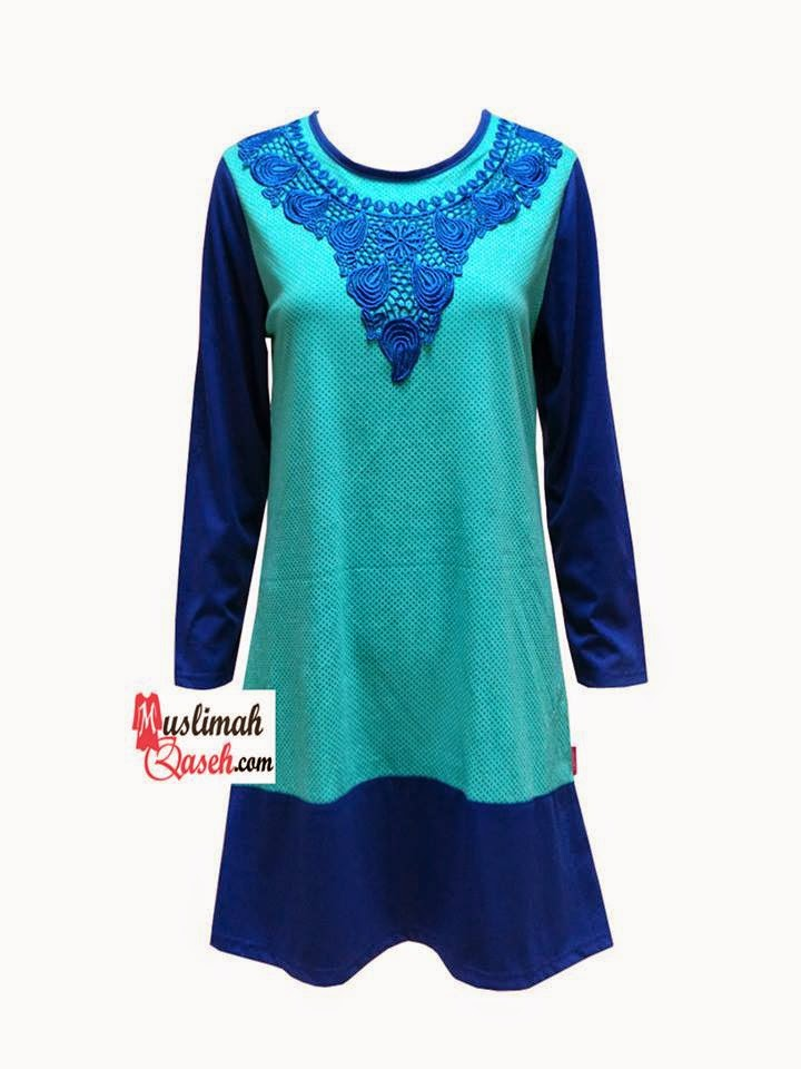 Baju muslimah Qaseh warna TURQUOISE WITH BLUE SMALL POKADOT PRINTED MIX LACE
