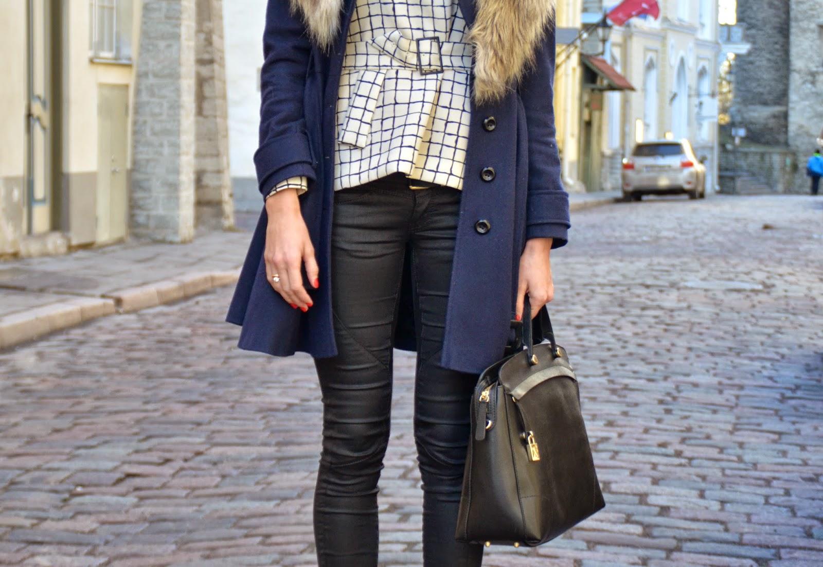 zara-check-print-top-guess-black-jeans-furla-bag