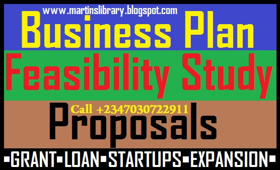 Proposals Business Plan And Feasibility Study For Grant And Loans