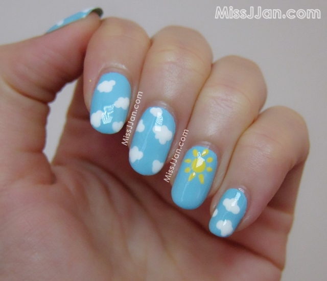Sun and Clouds Nail Art / Summer Nail Art {Tutorial / How To} - MissJJan's Beauty Blog ♥: Sun And Clouds Nail Art / Summer Nail