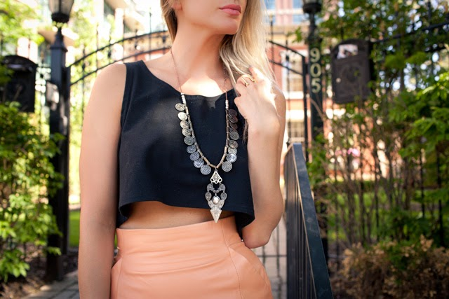 crop top, high waisted skirt, leather coral skirt, free people necklace, how to wear a crop top
