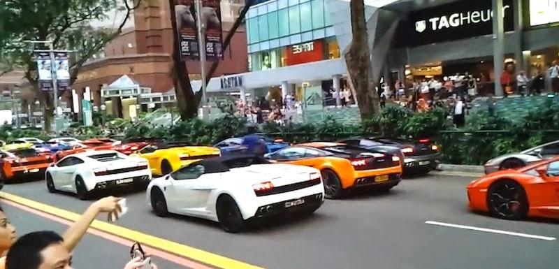 【動画】シンガポールでランボルギーニの大渋滞が発生!