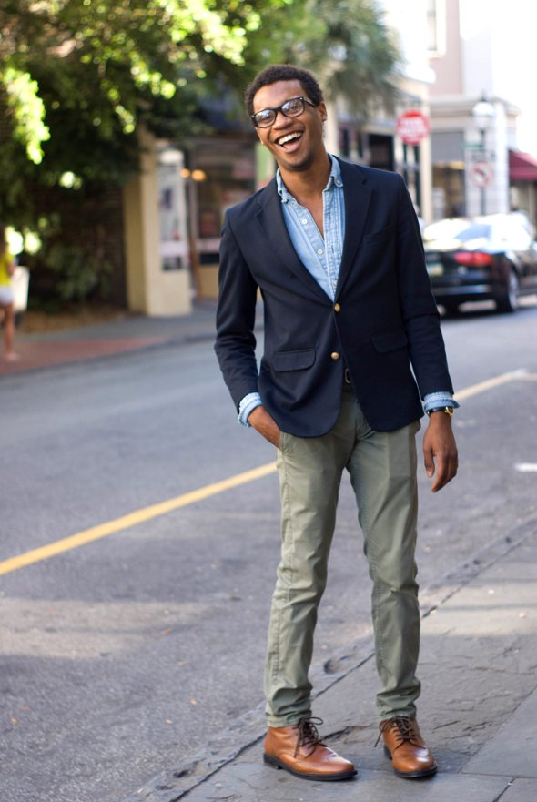 chambray shirt and blue blazer, Charleston Street Style, Southern Street Style
