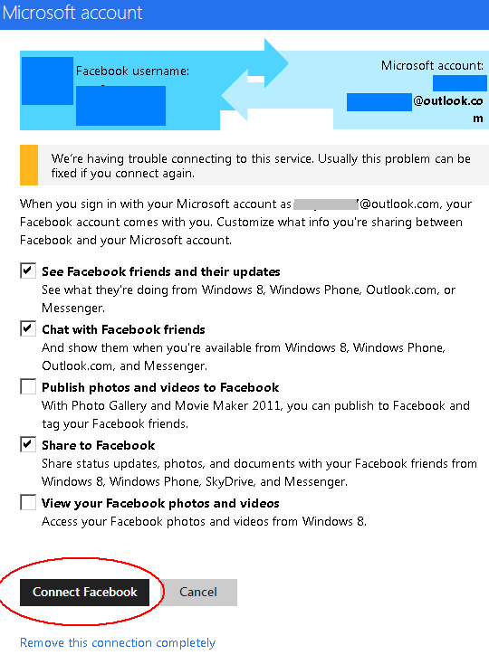 Connect Facebook with Outlook.com