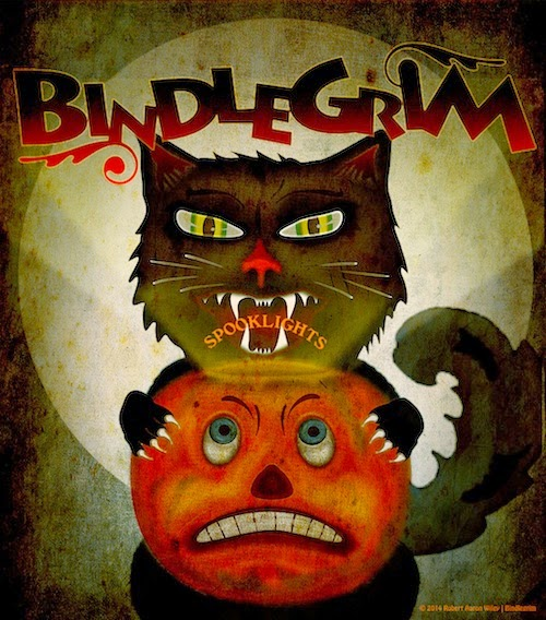 Classic design of pumpkin Jack O'Lantern meets trick-or-treat black cat in front of a full moon in promo for holiday artist Bindlegrim