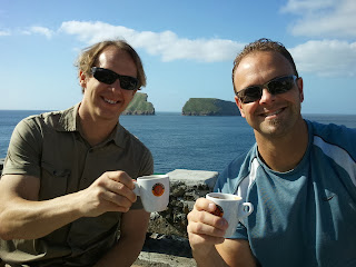 Bryan Forrest and Travis Bowman in front of Goat Island, Terceira, Azores