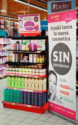 Detalle de lineal de productos cosméticos de la marca belle, de comercialización   exclusiva en EROSKI, libres de parabenos.