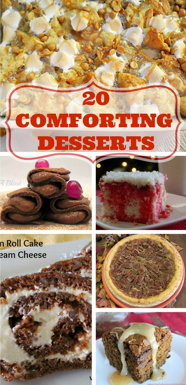 20 Comforting Desserts ~ In this collection: puddings, cakes, pies, rich chocolate pancakes, Monkey bread and so much more ~ all comfort food at it's best #ComfortFood #ComfortDesserts www.withablast.net