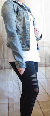 Outfit Leggins, Céline-Shirt & Jeans Jacket