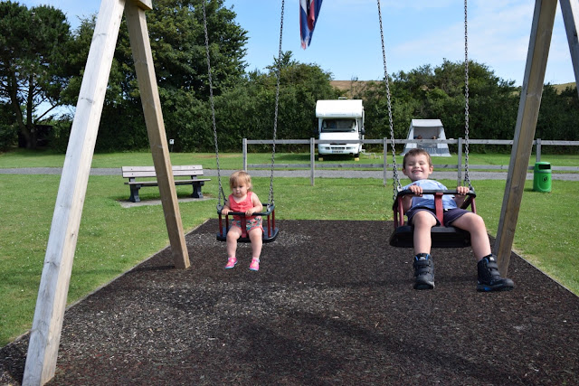The swings at Lobb Fields Campsite, North Devon
