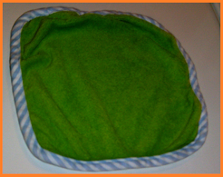bright green washcloth, free of stains.