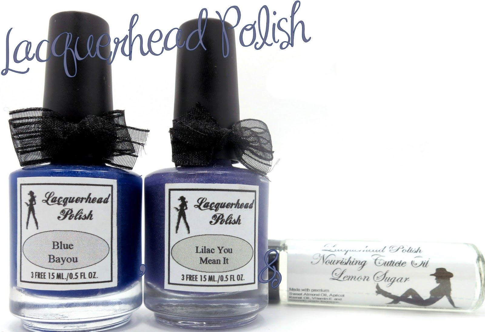 Lacquerhead Polish Blue Bayou, Lilac You Mean It & Lemon Sugar Cuticle Oil