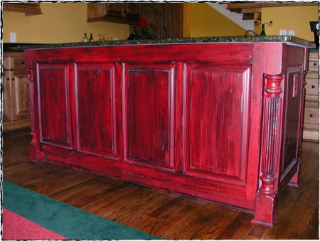 kitchen island made to look antique