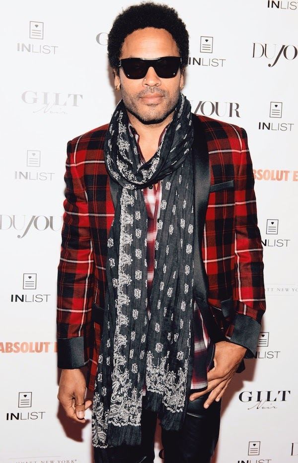 Lenny Kravitz wears red tartan jacket from Saint Laurent by Hedi Slimane Fall Winter 2014 at DuJour Magazine cover celebration in New York September 2014