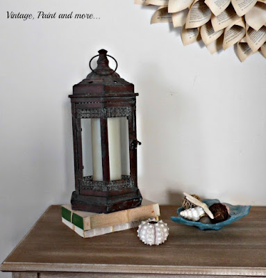 Vintage, Paint and more... rustic lantern and seashells make a summer beach entryway