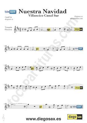 Tubepartitura Nuestra Navidad partitura para Trompeta y Fliscorno Villancico popular Andaluz de Canal Sur