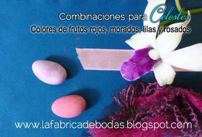 Combinacion de boda Celeste verdoso combinacion frutos rojos, lila y rosado.