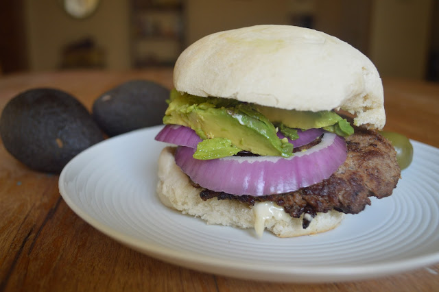 Guacamole and Onion Burger