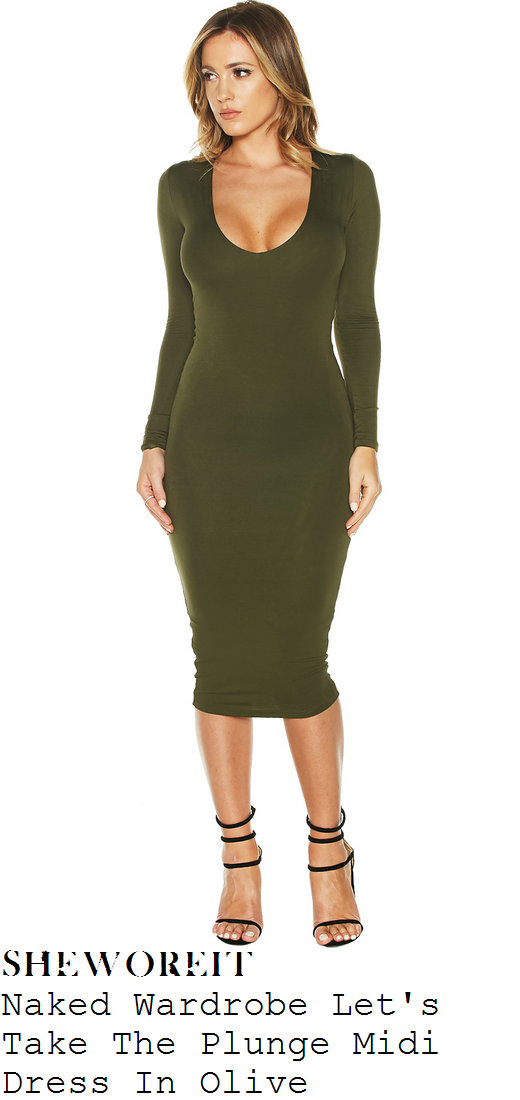 khloe-kardashian-olive-green-long-sleeve-scoop-bodycon-midi-dress