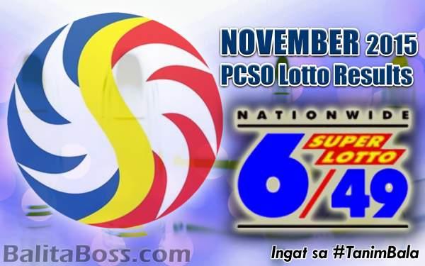 Image: November 2015 SuperLotto 6/49 PCSO Lotto Results