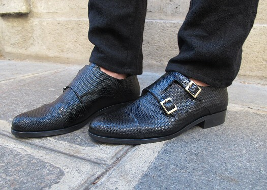 Derbies cuir texturé noir Anne Thomas
