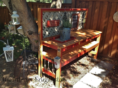 The completed outdoor bar and potting bench.