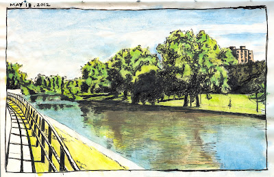The Thames River drawing by ©Ana Tirolese